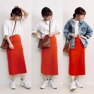 古著復古紅色素色單色毛呢長裙毛尼裙子長裙過膝裙排釦裙排釦長裙鬆緊帶前開岔裙子窄裙