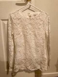 Portman's Signature - White Lace Top - Size 8