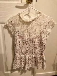 Witchery White Lace Top - Size 10