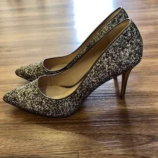 Charles & Keith Gold Sequin Point Toe Pumps