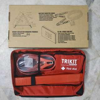 TRIKIT Emergency Kit for cars. Jumper Cable, First Aid Kit and Warning Triangle all in one
