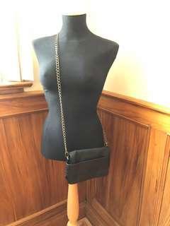 Vegan black leather crossbody