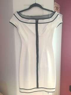 Herve L. Leroux Paris Dress (white w/black trim) - Size 2