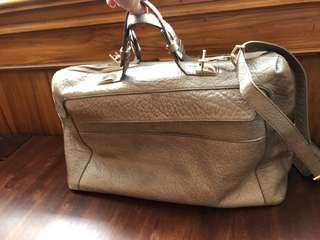 Grey leather Danier business/ weekender satchel