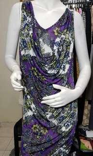 Sandra purple print drapes dress