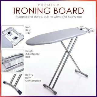 Premium Standing Ironing Board Iron Board Fire Retard Fabric - Grey