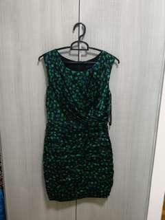 🚚 Coast blue green layered silk satin dress