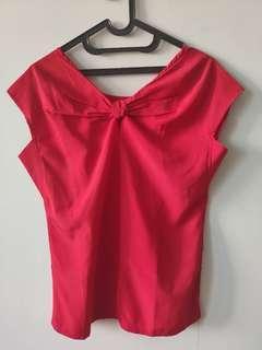 Blouse wanita bahan chiffon ringan warna merah