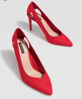 STRADIVARIUS RED CUT-OUT HIGH HEEL COURT SHOES