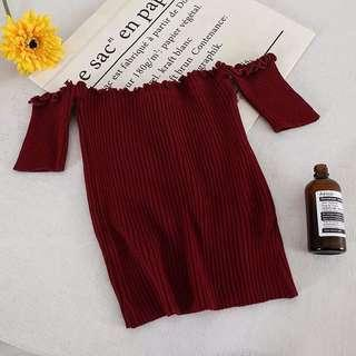 Maroon Knitted Off Shoulder Top
