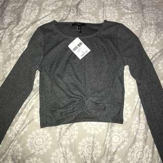 fvr21 - dark grey long sleeve twist top