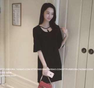 Black Round Neck Short Dress Butterfly Sleeves