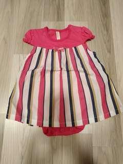Brand new hot pink striped baby dress