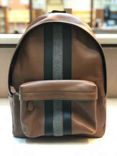 234f304157f7 Coach Men s Charles with Varsity Stripe Saddle Leather Backpack