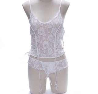 White lace bodycon night wear gartier belt lingerie gstring babydoll sleep dress