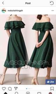Green off shoulder dress