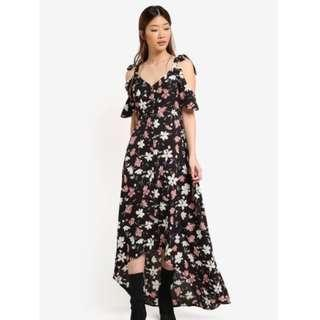 Something Borrowed Button Dip Hem Maxi Dress In Black