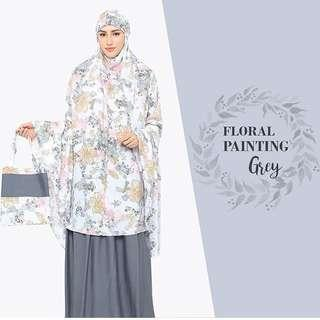 Mukena Floral Painting Grey
