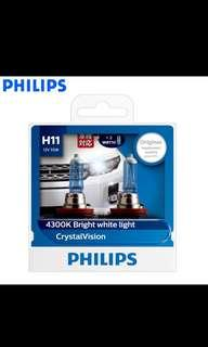 🚚 Genuine Philips Halogen Headlight Bulb H11 H4 H7 Free a pair of T10