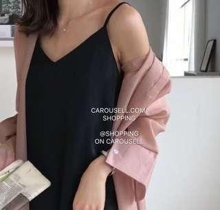 🚚 (2 Colours) Premium Minimalist V Neck Maxi Dress - Adjustable Straps