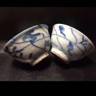 #QQH-0066:【清】清中期青花靈芝花茶杯一對
