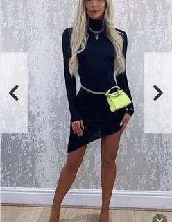 Femmeluxe Finery Black Mock Neck Asymmetrical Dress