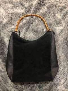 Bamboo Handle Hobo Bag