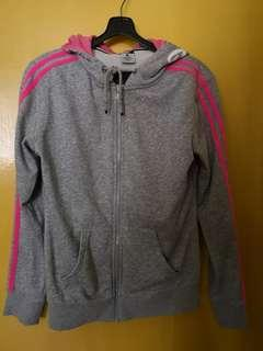 Grey jacket with pink strips