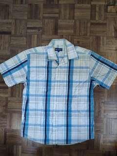 (Branded) Men's Blue Checkered Button Short Sleeve Shirt