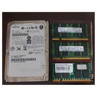 售1G 2G 單條DDR2 筆電記憶體和 100GB 筆電硬碟 如圖片所示 意者請來訊息詢價
