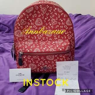 INSTOCK SPECIAL OFFER! Coach Charlie Medium Backpack with Lace Heart Print (100% Authentic)