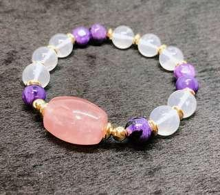 🚚 Madagascar Rose Quartz drum bead with Charoite and Himalayan Moon Quartz Beads bracelet. Insightful, calm & gain pure love