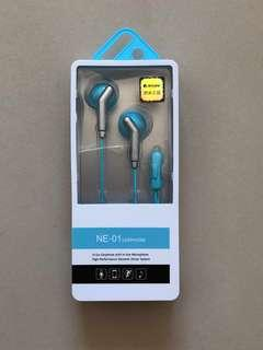BNIB light blue earphones with microphone