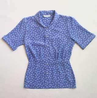 Early 90's powder blue blossom print shirt