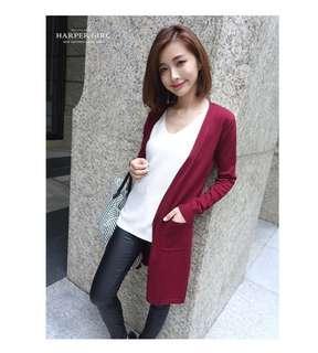 🚚 長版針織外套 酒紅色 #半價衣服市集