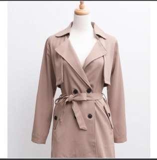 🚚 卡其雙領排扣風衣外套 #半價衣服市集
