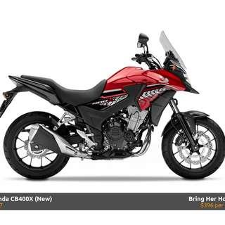 Honda CB400X D/P $500 or $0 With out insurance (Terms and conditions apply. Pls call 67468582 De Xing Motor Pte Ltd Blk 3006 Ubi Road 1 #01-356 S 408700.