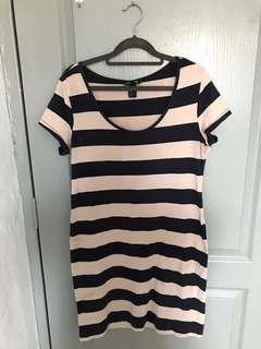 🚚 PRE LOVED: H&M Striped Cotton Dress (NAVY BLUE)