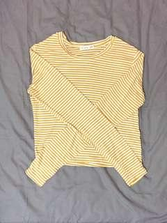 Yellow Striped Long Sleeve Crop