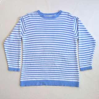 Early 90's powder blue and white stripe cotton sailor sweater