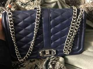 Rebecca Minkoff Love quilted bag navy silver