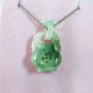 🚚 🏺富貴平安🏺天然緬甸玉A貨翡翠-飄藍花 裸空精雕 寶瓶 造型項鍊(可放置香氛球)
