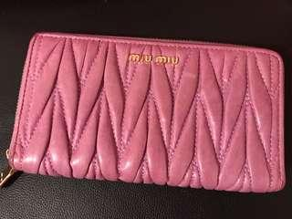 Miu Miu Matelasse leather long zippy wallet 皺摺長銀包