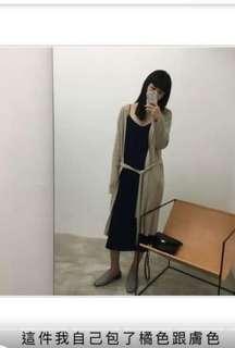 #Nude 直線壓紋綁帶長版上衣外套 駝膚色(小安推薦款