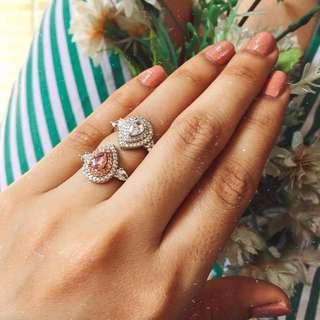 Water drop Sterling Silver Diamond Ring