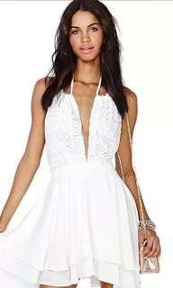White Plunge Halter dress