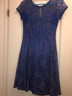 Women's Blue Lace Dress