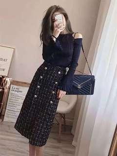 🚚 [BNIP] 2-Piece Off shoulder top + tweed skirt