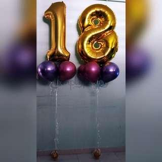 Helium Number Balloons Bouquet