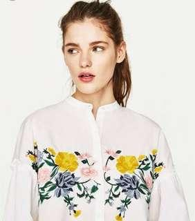 BNWT Zara Ins Embroidered Top